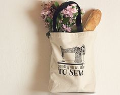 SALE ---- Pretty girls like to sew - Canvas Tote bag - Reusable, washable and Eco Friendly - Sturdy 10oz natural cotton