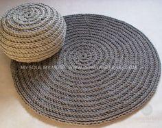 Yellow cotton cord round rug crochet rug crochet by RNArtDesign