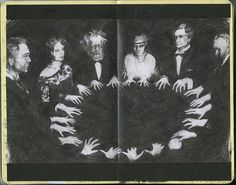 """Table Tipping"" Séance around a small round table. The table would rock and tap out messages."