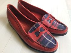 BASS RACHEL ANTONOFF Weejuns Wendybird Women's 8.5 Red Plaid Moc Loafer $150 #Bass #LoafersMoccasins #Casual
