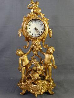 Antique ART NOUVEAU Figural NEW HAVEN DOLPHIN & PUTTI Statue GILT Parlor CLOCK #Victorian
