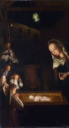 Nativity at Night by Geertgen tot Sint Jans, c. 1490, after a composition by Hugo van der Goes of c. 1470, influenced by the visions of Saint Bridget of Sweden. Sources of light are the infant Jesus, the shepherds' fire on the hill behind, and the angel who appears to them.