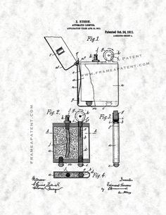 This is a Patent Print for a Automatic Lighter. It was invented by Edouard Husson and it was issued on October 1911 by the United States Patent and Trademark Office. Printed Pages, Patent Prints, Lighter, Smoking, Poster Prints, Canvas Prints, Ads, Photo Canvas Prints, Tobacco Smoking