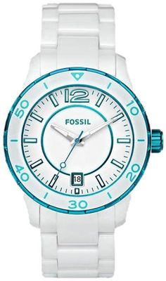 #Fossil #Watch , White Dial White and Teal Ceramic Bracelet Ladies Watch CE1052