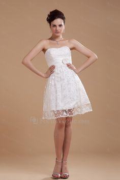 Satin scoop knelang a-linje brudekjole med brodert - Focus Vogue