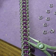 Today's fun. Hoodoo hex in silver and violet. Love how slinky this weave is. #chainmaille #handmade #wip #violet #jewelry #madebyme #madebyhand #artisanmade #supportsmallbusiness #chainmaillejewelry #bracelet #loonercreations