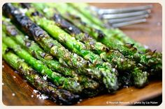 Grilled Asparagus. A little olive oil, salt and pepper and grilled for 3-5 minutes - so good! You can do this in the oven on a cookie sheet too at 400 degrees for about 10 minutes (stirring once) or until browned!