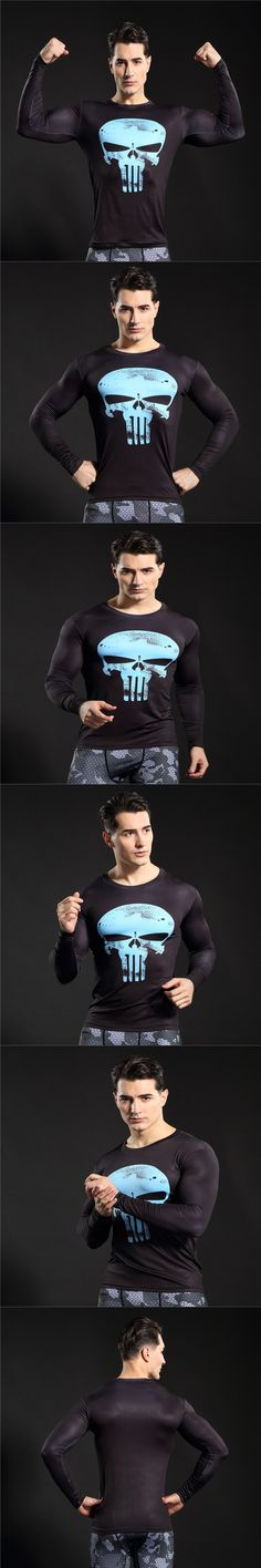 2017 Compression Shirt 3D Punisher Skull MMA Workout Superman T Shirt Fitness Tights Casual Slim Fit Shirts Brand Clothing C027