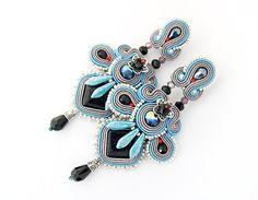 Grey statement earrings silver chandelier earrings grey by pUkke
