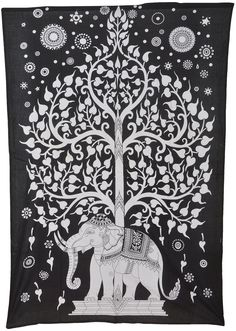 BhagyodayFashions Elephant Tree Tapestry,Good Luck White Elephant Tapestry, Hippie Gypsy Wall Hanging, Tree of Life Tapestry, New Age Dorm Tapestry (Multi/Black) (Black/White) Tapestry Bedding, Dorm Tapestry, Indian Tapestry, Mandala Tapestry, Tapestry Wall Hanging, Hippie Tapestries, Tapestry Beach, Bohemian Tapestry, Wall Hangings