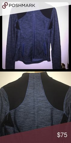 Lululemon Zip Front Jacket Sz 6 Perfect condition! Tag ripped out for comfort. Blue denim look with black accents. Finger holes. Sz 6. Make Me An Offer! 💕 5 Star Posher 💗 lululemon athletica Jackets & Coats
