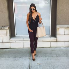 A Southern Drawl. Black top+dark brown leggins+leopard print pumps+ivory tote bag+sunglasses. Late Summer evening outfit 2016