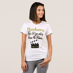 50 & FABULOUS MOVIE STAR PERSONALIZED T SHIRT Enjoy our awesome personalized 50th birthday Tees and gifts. 40% Off Magnets & More  15% Off Sitewide Use Code: http://www.zazzle.com/jlpbirthday/gifts?cg=196128245923858498&rf=238246180177746410  #50yearsold #50thbirthday #50thbirthdaygift #50thbirthdayideas #Happy50th #Personalized50th