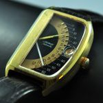 1975 WITTNAUER SECTOR FUTURAMA 1000 watches are a very cool and collectable watches. The massive gold plated case with stainless steel back measures 32.5 across x 46mm. and looks quite good. The retrograde, black and gold two-tone dial is very clean and all original, including the baton hands. The original bubble-date crystal is also present. The automatic winding WITTNAUER movement was just cleaned and is accurate. Two Tones, Futurama, Bubbles, Stainless Steel, Hands, Cleaning, Watches, Crystals, The Originals
