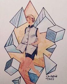 Une série de #collage qui n'en fini pas! :) #mode #modesettravaux #byme #cube #tetraedre #solidesdeplaton #art #artmode #vincentmicheldupuid #aquarelle #illustration #woman #blue #bleu #orange #geometric #lowpoly