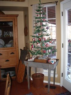 4' feather tree with all vintage ornaments
