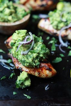 Grilled Cilantro Lime Chicken with Avocado Salsa - a healthy, easy, 30 minute meal packed with fresh zesty flavors. This chicken recipe will quickly be a favorite! | joyfulhealthyeats.com #paleo Easy Dinner Recipes
