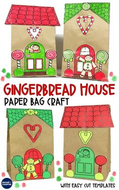 These fun paper bag gingerbread house templates make a perfect holiday craft for kids. An easy and fun addition to your classroom gingerbread man activities, they make great gift bags for parent Christmas gifts too! The easy cut printables work well for Kindergarten, first grade, and second grade students as they design their own gingerbread house.