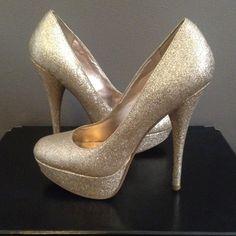 Glitter heels Soft metallic glitter heels. Minor scuff (shown in pic); not noticeable when in wear. Shoes Platforms