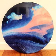 'Sunset Boardwalk' 55cm canvas print mounted on timber board with resin finish now only $179 usual RRP: $240. Find it in the sale section on the website #print #abstract #design #art #artist #artwork #modernart #interiorstyling #myart #roundart #circleart #limitededition #ink #homewares #interior #styling #thelittlethingsdesign