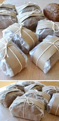 I'd sell baked stuff packaged this way. - easy way to package- individually wrapped with wax paper, craft paper and kitchen string