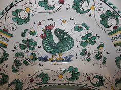 Vintage DERUTA Italian Majolica Pottery ROOSTER Plate GRAZIA #Deruta