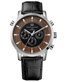 Tommy Hilfiger Watch, Men's Black Croc-Embossed Leather Strap 44mm 1790873 - Men's Watches - Jewelry & Watches - Macy's
