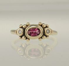 Gold Pink Tourmaline and Diamond Ring - Handmade One of a Kind Artisan Jewelry Made in the USA with Free Domestic Shipping! Denim and Diamonds Jewelry Paw Print Ring, Denim And Diamonds, 14k Gold Ring, Pink Tourmaline, Yellow Gold Rings, Etsy Jewelry, Artisan Jewelry, Diamond Jewelry, Jewelry Making