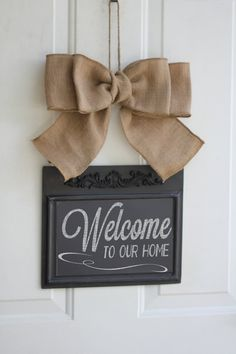 Magnetic CHALKBOARD Hanging Sign Burlap Bow Write your own message Welcome to Our Home ... Includes stencil and chalk!!!!