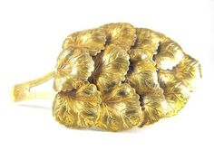 Art Nouveau Dress Clip Gilded Brass Leaves by hipcricket on Etsy, $25.00