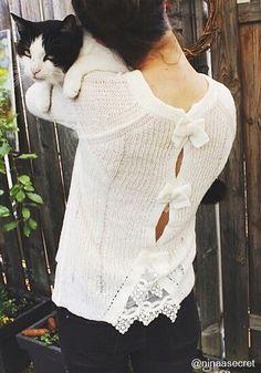 So Far So Good Knit Top - Lace Detailing At Hem
