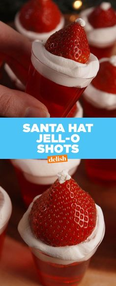 Santa Hat Jell-O Shots Absolutely Sleigh 34 Jolly Christmas Cocktails: Holiday Drinks - Joy Pea Health Christmas Jello Shots, Christmas Cocktails, Christmas Appetizers, Holiday Cocktails, Christmas Desserts, Christmas Treats, Christmas Baking, Holiday Treats, Holiday Recipes