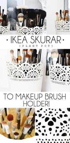 A cheap way to hold your makeup brushes with the £2 Ikea Skurar plant pot.
