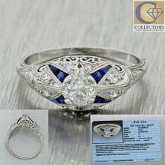 1920s Antique Art Deco Solid Platinum .58ctw Old Diamond Engagement Ring EGL