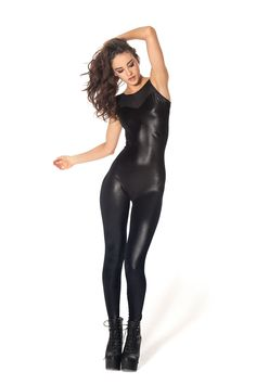Wet Look Sheer Top Catsuit by Black Milk Clothing
