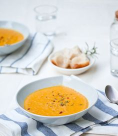 Curried Coconut Carrot Soup - The Kitchn.   A little too spicy as is. Would be great with added rice and a protein like chicken or shrimp.