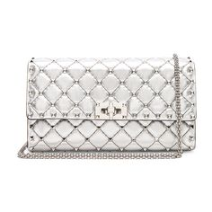 c0b0195af Valentino Quilted Metallic Rockstud Spike Clutch (2,685 BAM) ❤ liked on  Polyvore featuring bags, handbags, clutches, leather clutches, leather  purses, ...