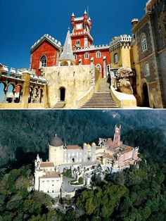 The oldest palace inspired by European Romanticism, the Pena National Palace in Portugal stands on the top of a hill above the town of Sintra, and on a clear day it can be easily seen from Lisbon.