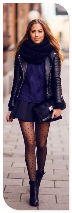 Black Wool Scarf, Black Leather Jacket, Navy Blue Sweater, Short Black Skirt, Polka Dot Tights, Black Boots and Purse.