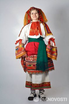 Russian national costume. The Collection Of Sergey Glebushkin.  Women's traditional costume of the province of Oryol.