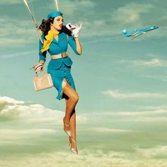 Sexy heels- check, parachute- check, afternoon tea- check. All the things needed for an invasion of hotness.