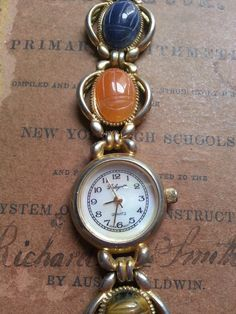 Stone Scarab Beetle Watch. Vintage. As Found.