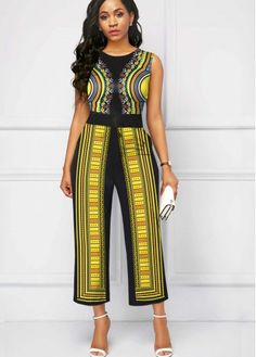 Round Neck Tribal Print Sleeveless Jumpsuit Buy it Now :D Yellow Jumpsuit, One Shoulder Jumpsuit, Jumpsuits For Women, Casual Dresses, Clothes For Women, Womens Fashion, Winter Leggings, Evening Cocktail, Dress Designs