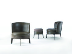 FLEXFOM FEEL GOOD Pouf and FEEL GOOD Small Swivel Armchair with hide leather trim base. Designed by ANTONIO CITTERIO.