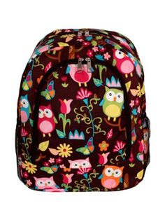 $13.75 Owl Give a Hoot Large Backpack with Brown Trim