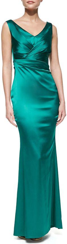 Talbot Runhof Sleeveless Pleated Bodice Gown