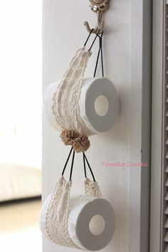 『100円ヘアバンドでトイレットペーパーホルダー』DIY toilet paper holder with hair band