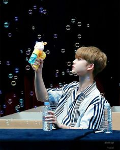 """2,655 Likes, 9 Comments - Bae Jinyoung (배진영) - Fanpage (@baejinyoung_wannaone) on Instagram: """"this pic is so pretty omgㅠㅠㅠ baejin and bubbles❤ ⠀ 「170815」 一 ; Pangyo Fansign. 