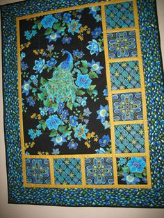 Peacock Quilted Wall Art in Timeless Treasure Plume Fabric. $69.95, via Etsy.
