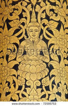 stock photo : Thai art wall pattern in Temple of Thailand.The temple is open to the public and has beautiful murals on the walls.